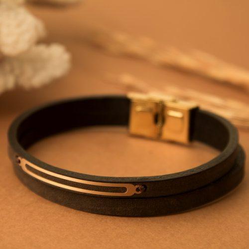 دستبند چرم و طلا مردانه طرح آنیموس