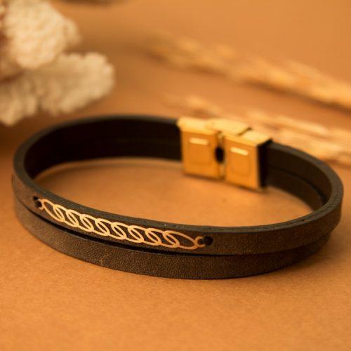 دستبند چرم و طلا مردانه طرح شارو