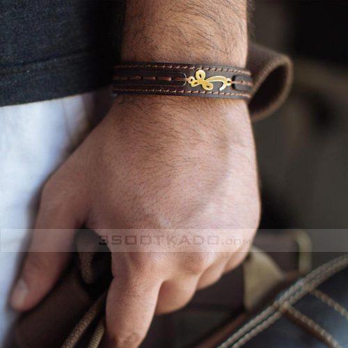 دستبند چرم با پلاک طلا طرح هو
