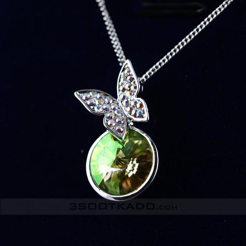 گردنبند با سنگ سواروسکی طرح Shining Butterfly