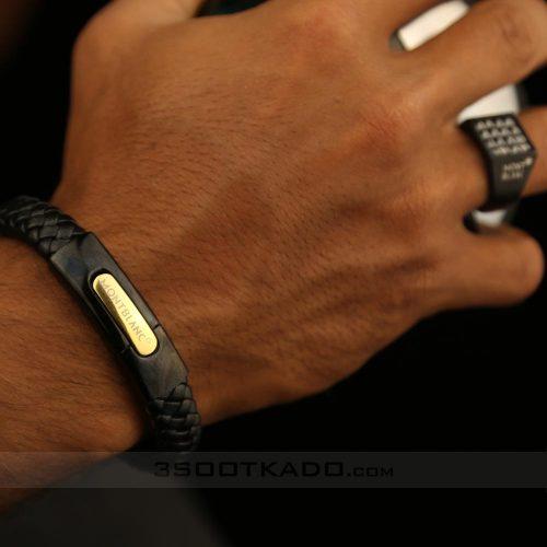 ست دستبند چرم و انگشتر مردانه
