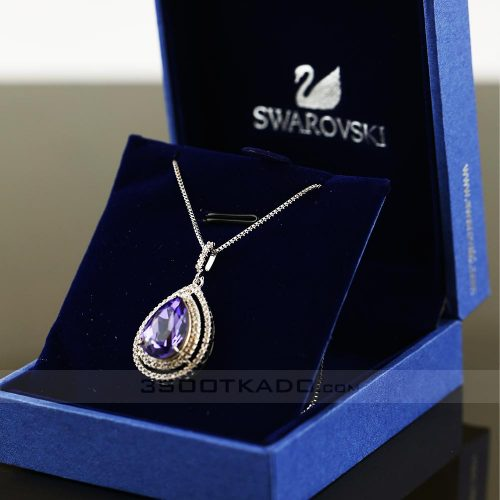 'گردنبند با سنگ سواروسکی طرح Purple diamond